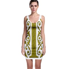 Gold Scroll Design Ornate Ornament Sleeveless Bodycon Dress