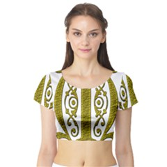 Gold Scroll Design Ornate Ornament Short Sleeve Crop Top (tight Fit)