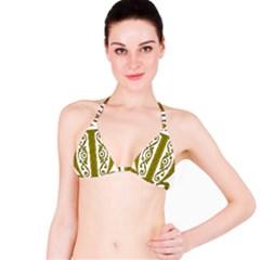 Gold Scroll Design Ornate Ornament Bikini Top