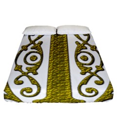 Gold Scroll Design Ornate Ornament Fitted Sheet (queen Size)