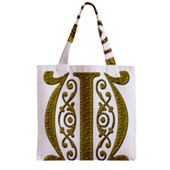 Gold Scroll Design Ornate Ornament Zipper Grocery Tote Bag by Nexatart