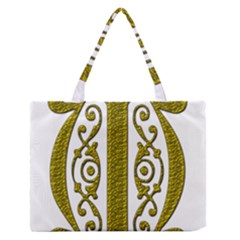 Gold Scroll Design Ornate Ornament Medium Zipper Tote Bag