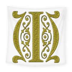 Gold Scroll Design Ornate Ornament Square Tapestry (large)