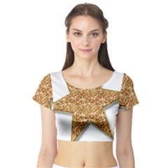Star Glitter Short Sleeve Crop Top (tight Fit)
