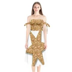 Star Glitter Shoulder Tie Bardot Midi Dress