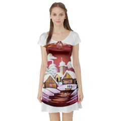 Christmas Decor Christmas Ornaments Short Sleeve Skater Dress by Nexatart