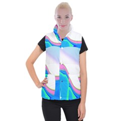 Aurora Color Rainbow Space Blue Sky Purple Yellow Green Women s Button Up Puffer Vest by Mariart