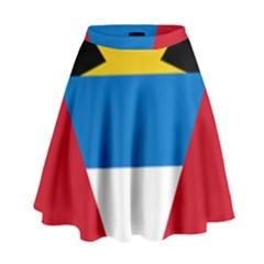 Banner Flag Sun Line Chevron Red White Black Blue High Waist Skirt by Mariart