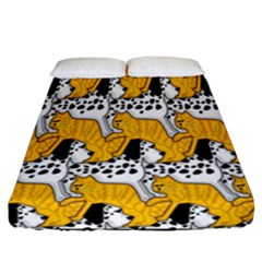 Animals Cat Dog Dalmation Fitted Sheet (california King Size) by Mariart