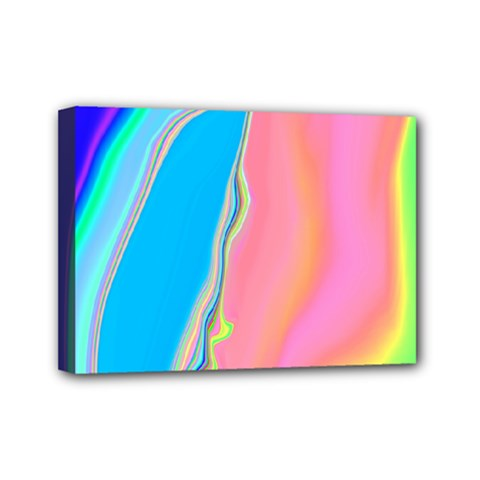 Aurora Color Rainbow Space Blue Sky Purple Yellow Green Pink Mini Canvas 7  X 5  by Mariart