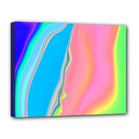 Aurora Color Rainbow Space Blue Sky Purple Yellow Green Pink Canvas 14  X 11  by Mariart