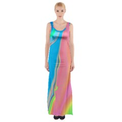 Aurora Color Rainbow Space Blue Sky Purple Yellow Green Pink Maxi Thigh Split Dress
