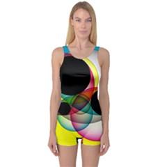 Apollonius Color Multi Circle Polkadot One Piece Boyleg Swimsuit