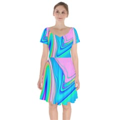 Aurora Color Rainbow Space Blue Sky Purple Yellow Green Pink Red Short Sleeve Bardot Dress