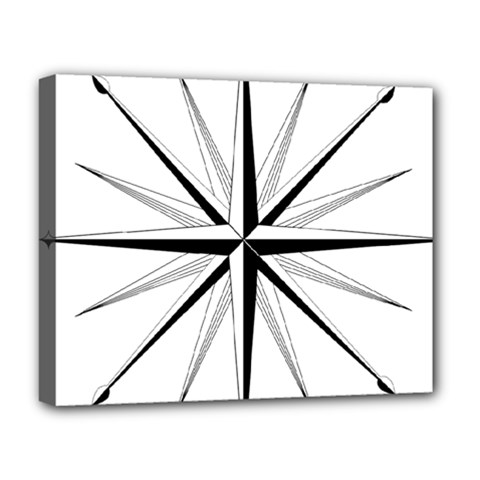 Compase Star Rose Black White Deluxe Canvas 20  X 16   by Mariart