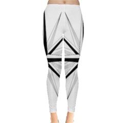 Compase Star Rose Black White Leggings  by Mariart