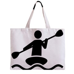Cropped Kayak Graphic Race Paddle Black Water Sea Wave Beach Zipper Mini Tote Bag by Mariart