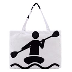 Cropped Kayak Graphic Race Paddle Black Water Sea Wave Beach Medium Tote Bag by Mariart