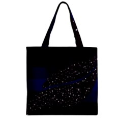 Contigender Flags Star Polka Space Blue Sky Black Brown Zipper Grocery Tote Bag by Mariart