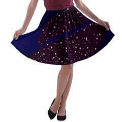 Contigender Flags Star Polka Space Blue Sky Black Brown A Line Skater Skirt by Mariart