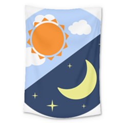 Day Night Moon Stars Cloud Stars Large Tapestry by Mariart