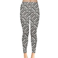 Capsul Another Grey Diamond Metal Texture Leggings  by Mariart