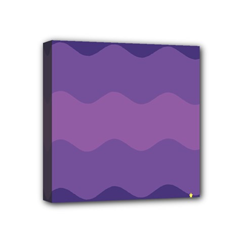 Glimragender Flags Wave Waves Chevron Purple Blue Star Yellow Space Mini Canvas 4  X 4  by Mariart