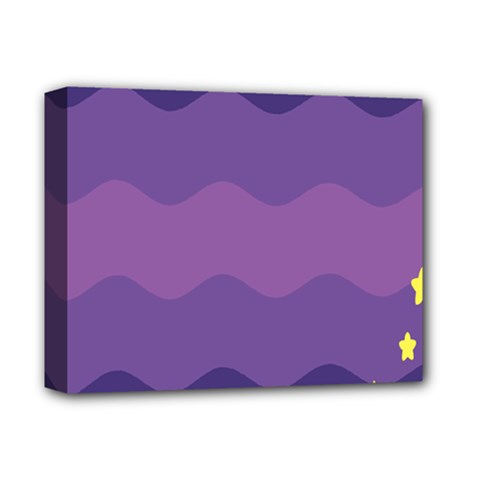 Glimragender Flags Wave Waves Chevron Purple Blue Star Yellow Space Deluxe Canvas 14  X 11  by Mariart
