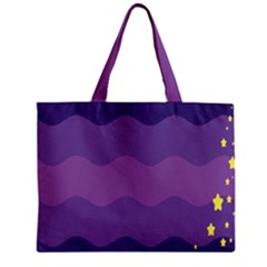 Glimragender Flags Wave Waves Chevron Purple Blue Star Yellow Space Mini Tote Bag by Mariart
