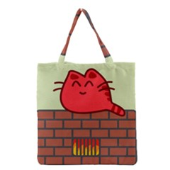 Happy Cat Fire Animals Cute Red Grocery Tote Bag by Mariart