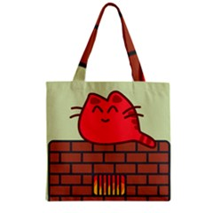 Happy Cat Fire Animals Cute Red Zipper Grocery Tote Bag by Mariart