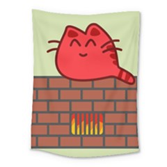 Happy Cat Fire Animals Cute Red Medium Tapestry by Mariart