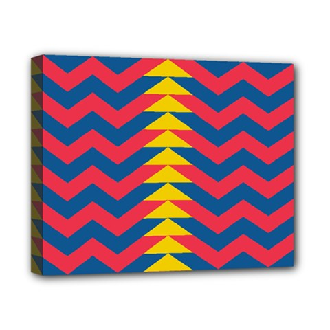 Lllustration Geometric Red Blue Yellow Chevron Wave Line Canvas 10  X 8  by Mariart