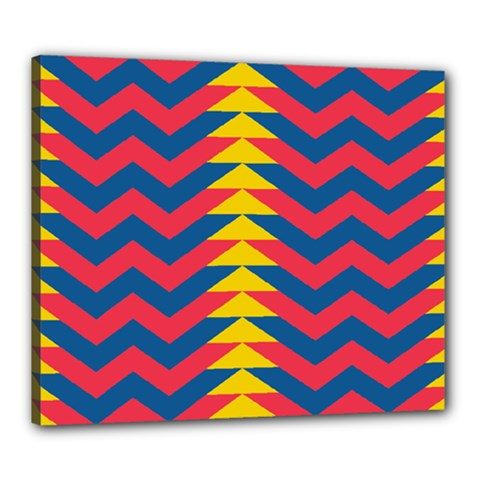 Lllustration Geometric Red Blue Yellow Chevron Wave Line Canvas 24  X 20  by Mariart