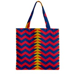 Lllustration Geometric Red Blue Yellow Chevron Wave Line Zipper Grocery Tote Bag by Mariart
