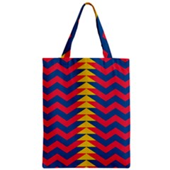 Lllustration Geometric Red Blue Yellow Chevron Wave Line Zipper Classic Tote Bag by Mariart