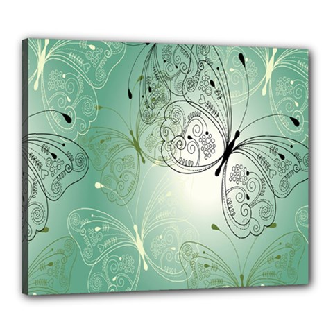 Glass Splashback Abstract Pattern Butterfly Canvas 24  X 20  by Mariart