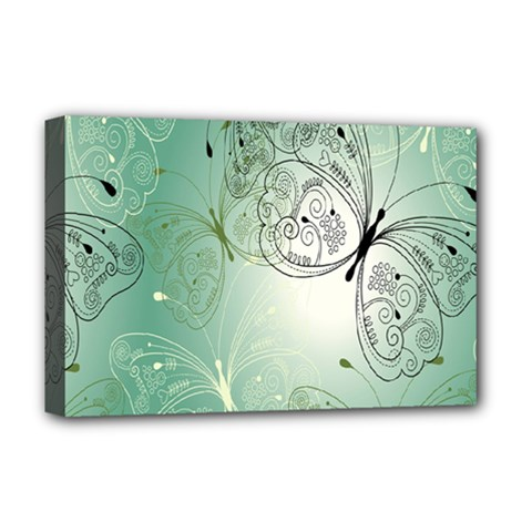 Glass Splashback Abstract Pattern Butterfly Deluxe Canvas 18  X 12   by Mariart