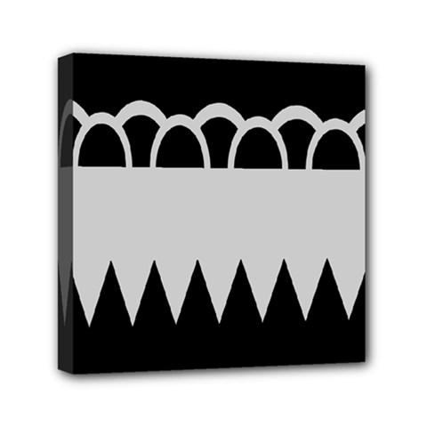 Noir Gender Flags Wave Waves Chevron Circle Black Grey Mini Canvas 6  X 6  by Mariart
