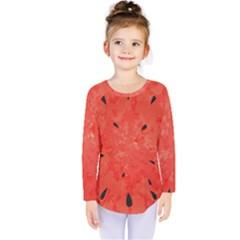 Summer Watermelon Design Kids  Long Sleeve Tee by TastefulDesigns