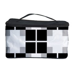 Plaid Black White Cosmetic Storage Case by Mariart