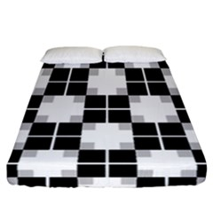 Plaid Black White Fitted Sheet (california King Size) by Mariart