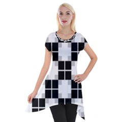 Plaid Black White Short Sleeve Side Drop Tunic by Mariart