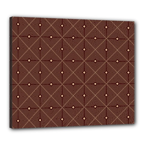 Coloured Line Squares Brown Plaid Chevron Canvas 24  X 20  by Mariart