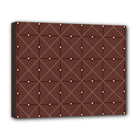 Coloured Line Squares Brown Plaid Chevron Deluxe Canvas 20  X 16   by Mariart