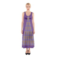 Pyramid Triangle  Purple Sleeveless Maxi Dress by Mariart