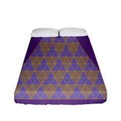 Pyramid Triangle  Purple Fitted Sheet (full/ Double Size) by Mariart