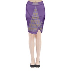 Pyramid Triangle  Purple Midi Wrap Pencil Skirt by Mariart