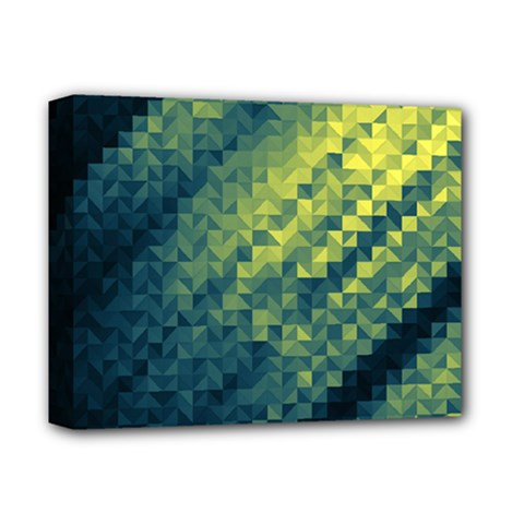Polygon Dark Triangle Green Blacj Yellow Deluxe Canvas 14  X 11  by Mariart