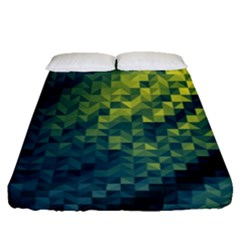 Polygon Dark Triangle Green Blacj Yellow Fitted Sheet (queen Size) by Mariart